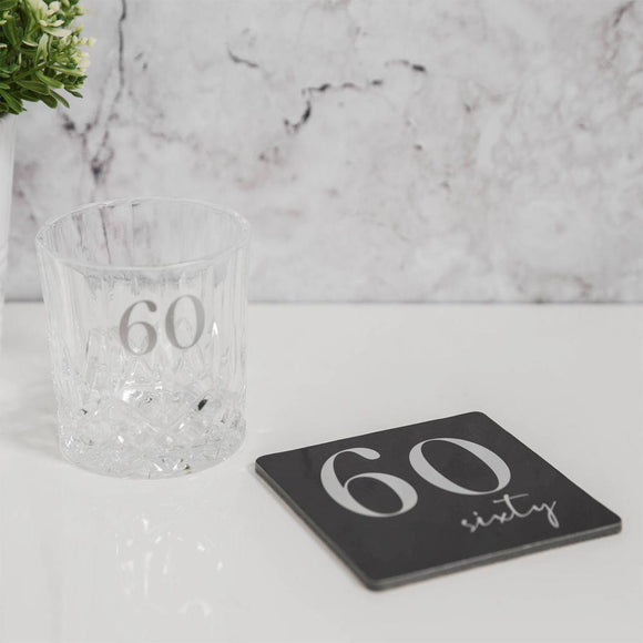Whisky Glass & Coaster Set for 60th Birthday