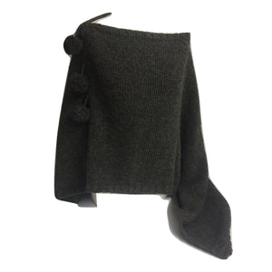 Ladies Charcoal Grey Poncho with Pom Poms - Caths Direct