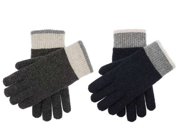 Dents Totnes Men's Contrast Cuff Knitted Gloves - Caths Direct