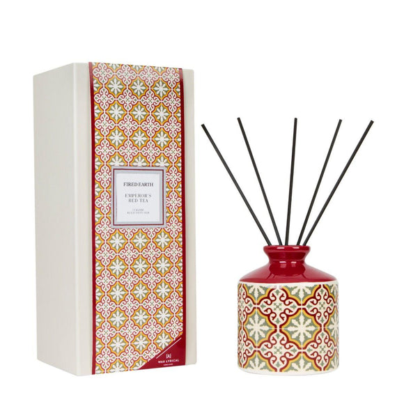 Fired Earth Emperors Red Tea Ceramic Reed Diffuser Set 200ml by Wax Lyrical - Caths Direct