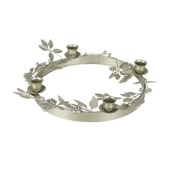 Wreath Design Silver Glitter Candle Holder