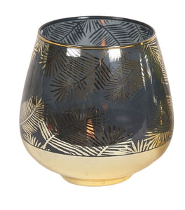 Blue & Gold Leaf Pattern Tea Light Candle Vase - Caths Direct