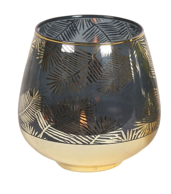 Blue & Gold Leaf Pattern Tea Light Candle Vase