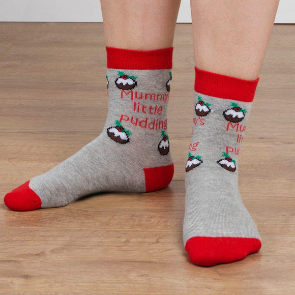 Kids Novelty Christmas Socks Mummys Little Pudding - Caths Direct