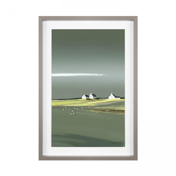 Aura White Washed Cottages Scene Framed Picture