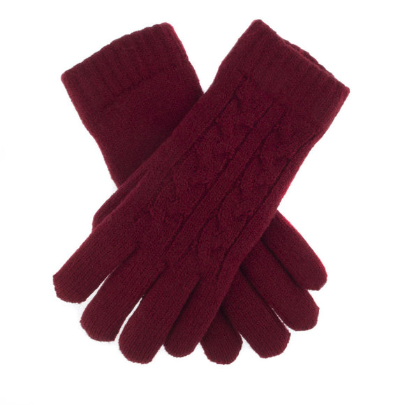 Dents Cable Knit Fleece Lined Gloves Claret Colour