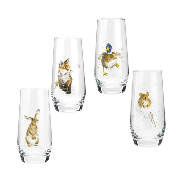 Royal Worcester Wrendale Designs Assorted Country Animals Hi-Ball Glasses Set of 4 - Caths Direct