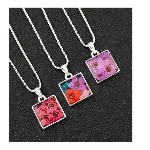 Eternal Flowers Silver Plated Pendant Necklace