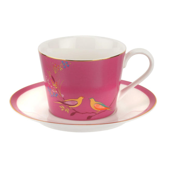 Sara Miller for Portmeirion Chelsea Collection Tea Cup & Saucer Set Pink - Caths Direct