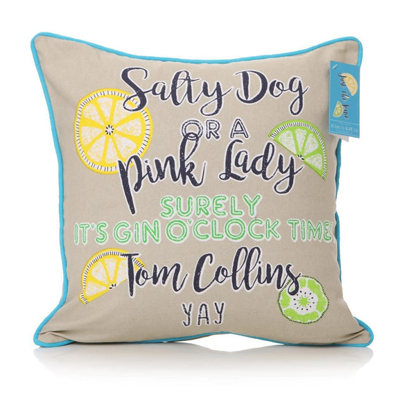 Gin Cocktails Just The Tonic Design Fabric Cushion  Square - Caths Direct