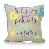 Gin Cocktails Just The Tonic Design Fabric Cushion  Square