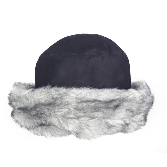 Wax Cotton Hat with Faux Fur Brim Navy Blue - Caths Direct