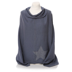 Ladies Cool Grey Poncho with Silver Star - Caths Direct