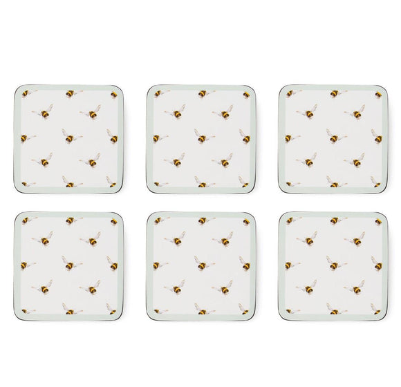 Portmeirion Wrendale Bee Pattern Set of 6 Coasters - Caths Direct