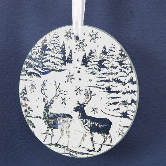 White Winter Scene Round Wall Hanging