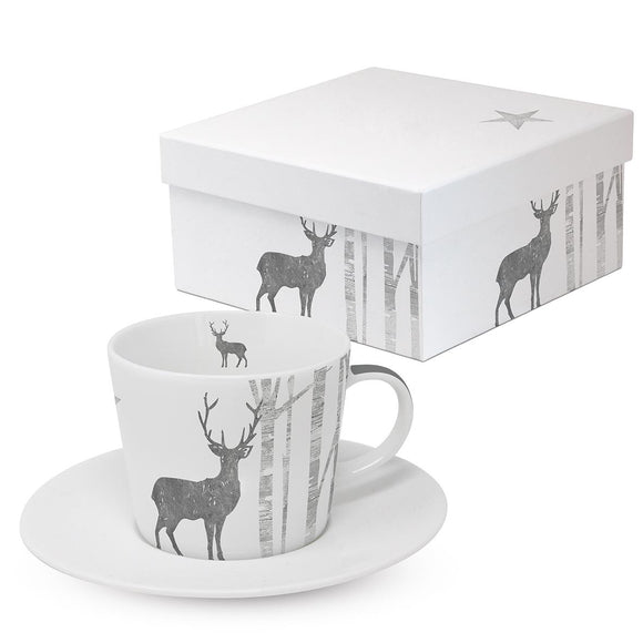 Mystic Deer Silver Design Coffee Cup & Saucer with Real Silver Finish with Matching Gift Box - Caths Direct