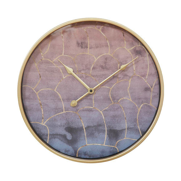 Pink & Gold Effect Metal Wall Clock Abstract Design - Caths Direct