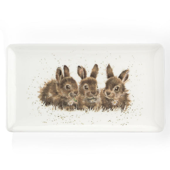 Portmeirion Wrendale Rabbits Design Porcelain Tray 20cm - Caths Direct