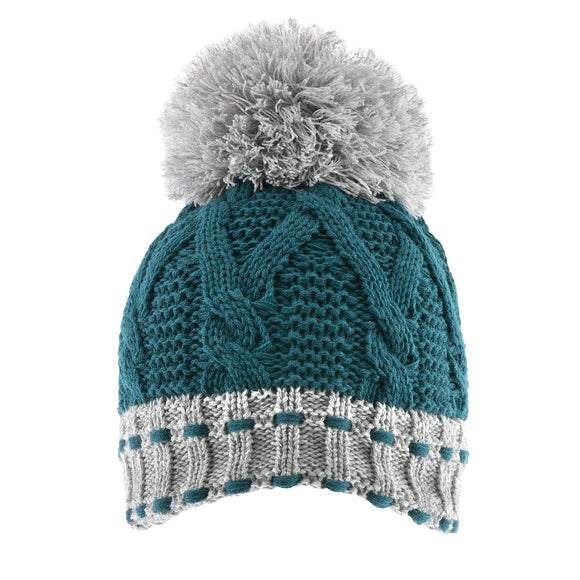 Dents Chunky Knit Beanie Hat with Pom Pom Petrol/Dove Grey
