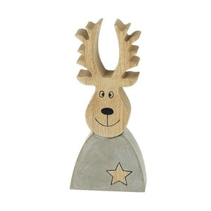 Grey Stone & Wooden Reindeer Ornament - Caths Direct