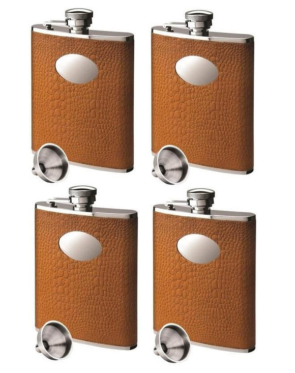 Set of 4 Stainless Steel & Tan Brown Hip Flasks