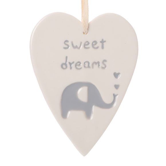 Baby Sweet Dreams & Elephant Hanging Heart - Caths Direct