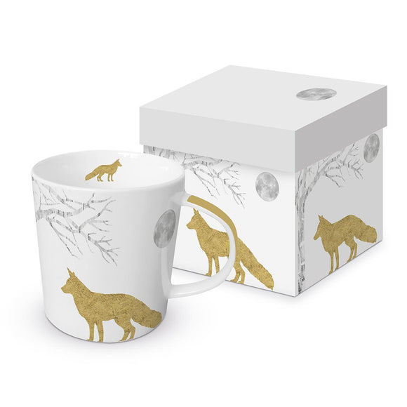 Mystic Fox Design with Real Gold Trend Mug with Matching Gift Box - Caths Direct