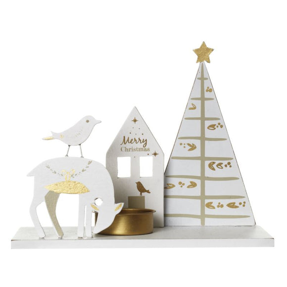 Christmas Scene Single Tea Light Candle Holder - Caths Direct