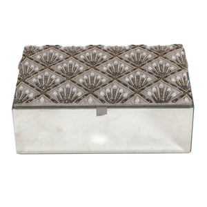 Grey Embroidered Mirror Glass Jewellery Box - Caths Direct