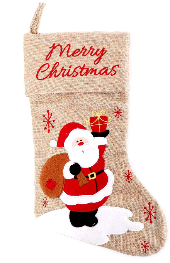 Hessian Christmas Stocking Santa Design - Caths Direct