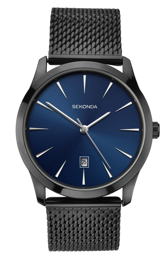 Sekonda Men's Black Milanese Bracelet Watch with Blue Dial 1786 - Caths Direct