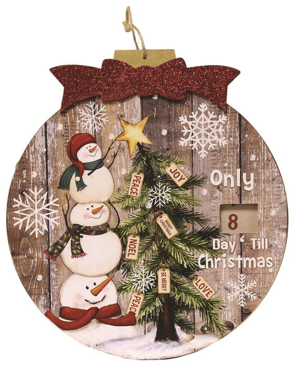 Wooden Advent Plaque Snowmen - Caths Direct