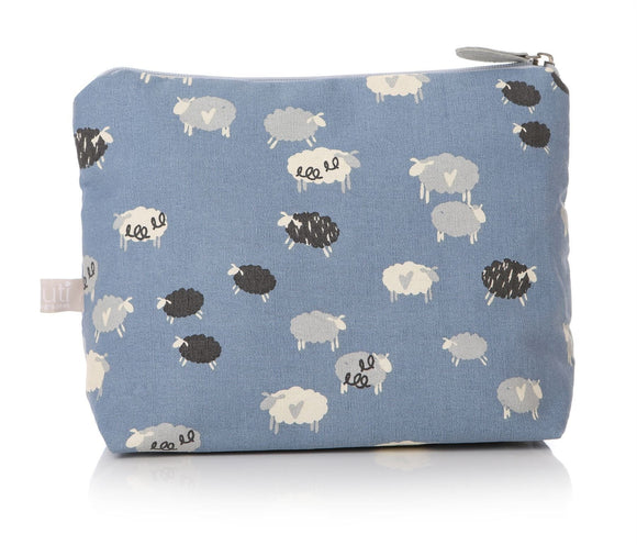 Silly Sheep Wash Bag Light Blue with Sheep Pattern - Caths Direct