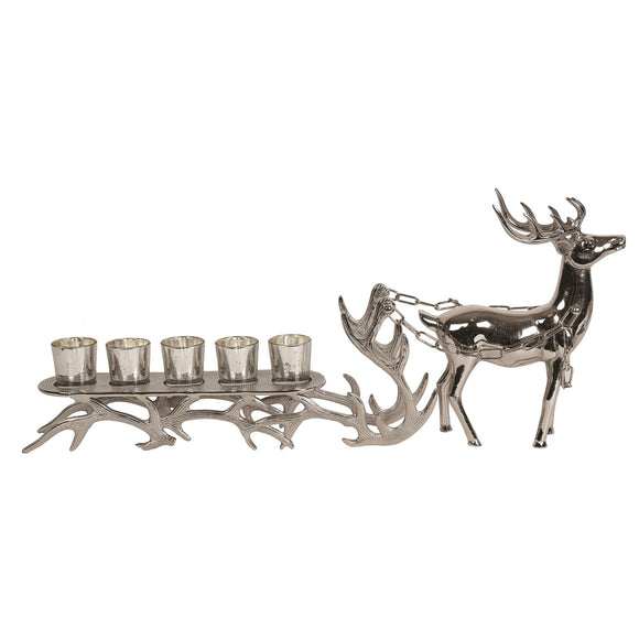 Large Silver Effect Reindeer & Sleigh Multi Candle Holder 75cm - Caths Direct