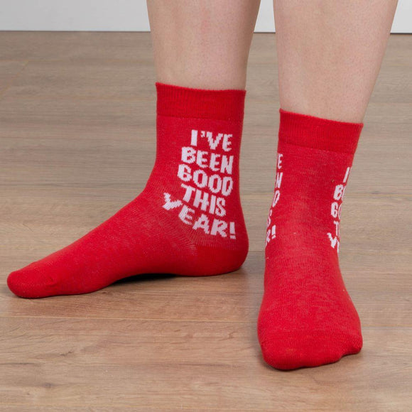 Kids Novelty Christmas Socks I've been Good This Year - Caths Direct