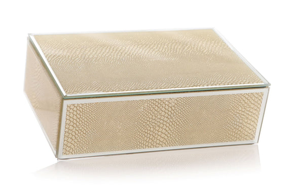 Gold Snakeskin Effect Mirror Glass Jewellery Box - Caths Direct