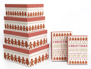 Festive Gingerbread Gift Boxes Set of 6 - Caths Direct