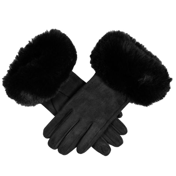 Dents Women's Touchscreen Faux Suede Gloves with Faux Fur Cuffs Black