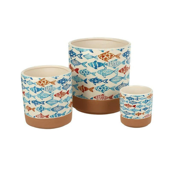 Set of 3 Fish Design Ceramic Pots - Caths Direct