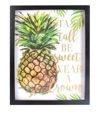 3D Golden Pineapple Wall Picture with Stand Tall