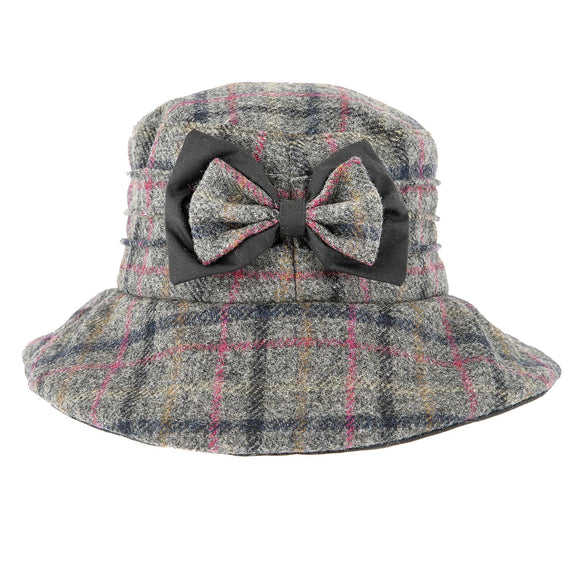 Dents Abraham Moon Check Hat with Bow Detail Grey - Caths Direct