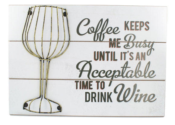Wine Glass Cork Holder Plaque Sign White - Caths Direct