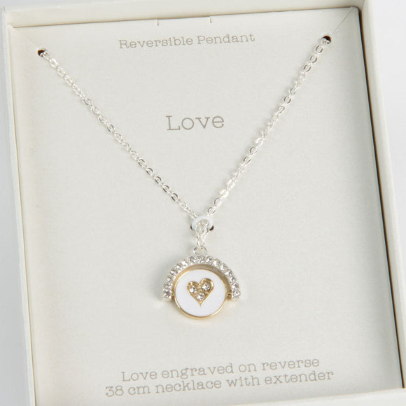 Love Life Divine Duos Necklace LOVE Reversible Pendant - Caths Direct
