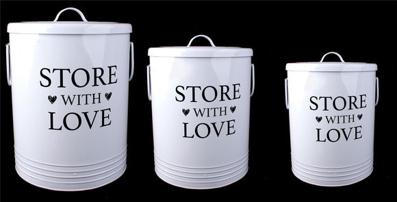 Set of 3 Metal Storage Containers Store With Love