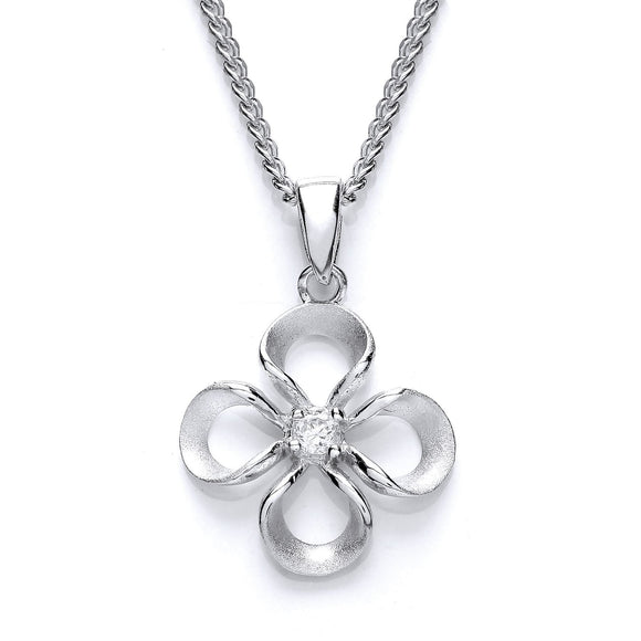 Purity Sterling Silver CZ Flower Pendant PUR3620P - Caths Direct
