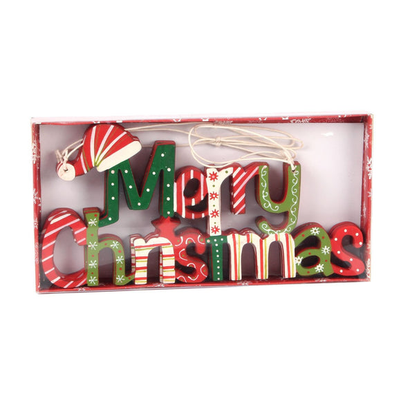 Wooden Wall Plaque Merry Christmas Pack of 3 - Caths Direct