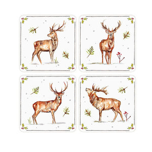 Winter Stag Coaster Set of 4 - Caths Direct