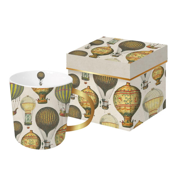 Trend Mug Mongolfiere Balloons Design with Gold Finish Gift Boxed Mug - Caths Direct