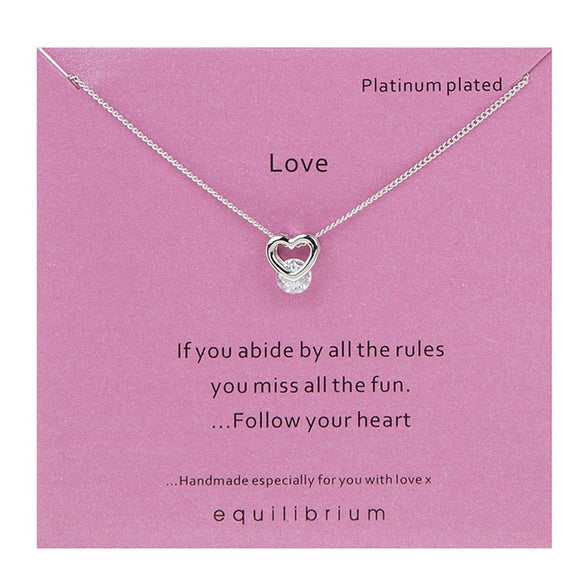 Love Heart Stone Set Necklace - Caths Direct