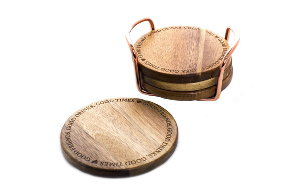 Set Of 4 Wooden Coasters & Holder - Caths Direct